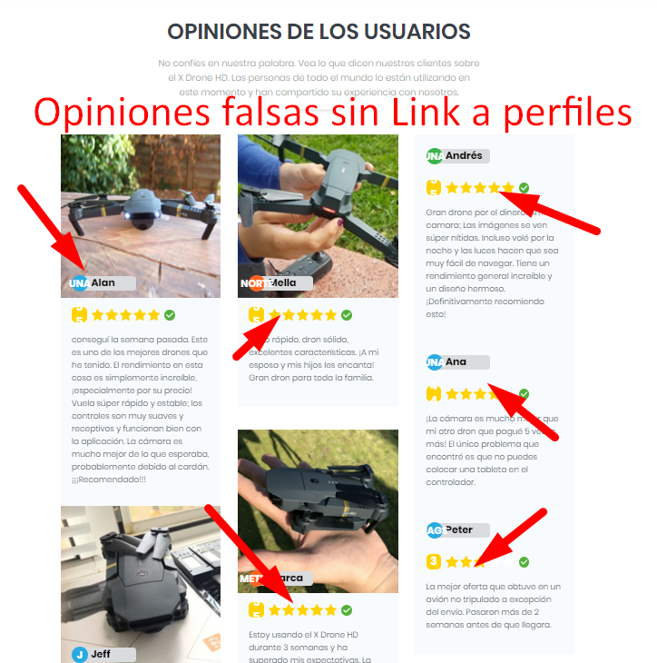 opiniones falsas de usuarios x drone hd