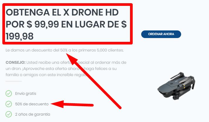 x drone descuento 50 porciento estafa